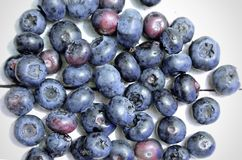 Some blueberries on a white wooden table. In a rustic kitchen stock photos