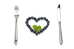 Some blueberry in heart-shape, Healthy Lifestyle Stock Photo