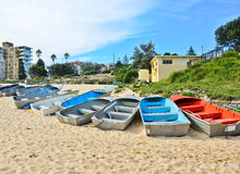 Some boats chained at Coogee Beach Royalty Free Stock Photography
