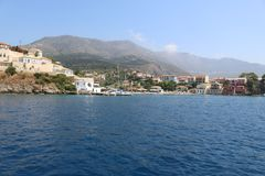 Some boats in the Ithaca, Greece. Some boats in the Ithaca on a sunny day in the ionian sea stock image
