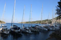 Some boats in the Ithaca, Greece. Some boats in the Ithaca on a sunny day in the ionian sea royalty free stock image
