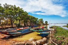 Some boats in the lake. Near the fishing village royalty free stock photo
