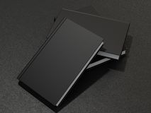 Some books with black blank cover. 3d render Stock Photos