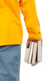 Some books in hand. On white background Stock Photo