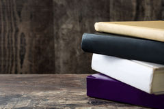 Some books on wooden background. Some books on wooden table background Stock Photo