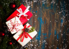 Some boxes with christmas presents. Top view, copy space Stock Images