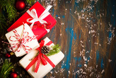 Some boxes with christmas presents. Top view, copy space Royalty Free Stock Image