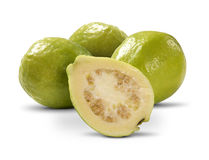 Some brazilian white guavas over a white background. Stock Images