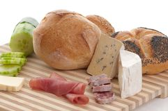 Some bread and cheese Stock Images