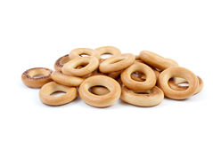 Some bread-rings. Isolated on the white background royalty free stock image