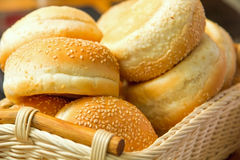 Some bread with seeds in the basket. Some bread in the basket Royalty Free Stock Images