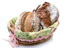 Some breads in a basket Royalty Free Stock Photo