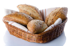 Some breads in a basket Royalty Free Stock Photography
