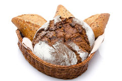 Some breads in a basket Royalty Free Stock Photos