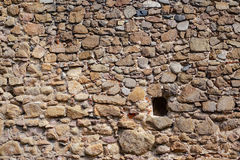 Some bricks missing. Hole in an old wall, interesting background Royalty Free Stock Image