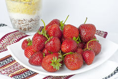 Some bright red strawberries Royalty Free Stock Photos