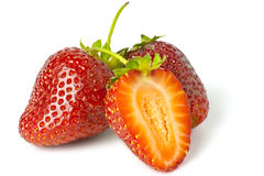 Some bright red strawberries Stock Images