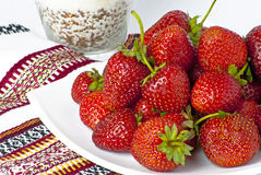 Some bright red strawberries Royalty Free Stock Photography