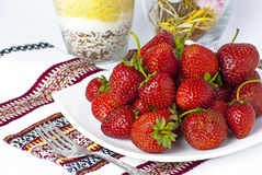 Some bright red strawberries Royalty Free Stock Image