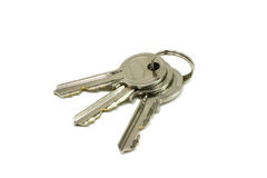 Some brilliant keys. On a white background stock photo