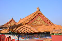 Some buildings in the Imperial Palace of Beijing. This is part of the construction of the the Imperial Palace in Beijing, red walls, yellow tiles, Chinese Royalty Free Stock Photography