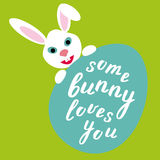 Some bunny loves you. Easter lettering. Stock Photography