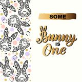 Some Bunny is One text is on background with rabbits. Handwritten lettering Bunny as logo, stiker, stick cake topper, laser cut plastic. Template for First Stock Images