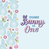Some Bunny is One text is on background with rabbits. Handwritten lettering Bunny as logo, stiker, stick cake topper, laser cut plastic. Template for First vector illustration