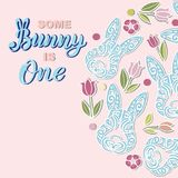 Some Bunny is One text is on background with rabbits. Handwritten lettering Bunny as logo, stiker, stick cake topper, laser cut plastic. Template for First Royalty Free Stock Image