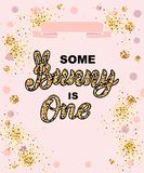 Some Bunny is One text isolated on pink background. Handwritten lettering Bunny as logo, stiker, stick cake topper, laser cut plastic. Template for First Royalty Free Stock Images