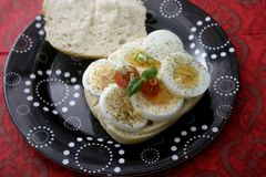 Bread with cooked eggs Royalty Free Stock Photography