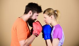 Some call them opponents, I call them victims. woman and bearded man workout in gym. train with coach. sportswear. Fight stock photos