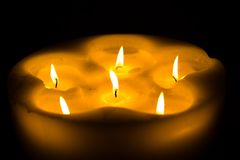 Some candles. Some nice candles illuminating the dark room Royalty Free Stock Photography