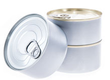 Some Cans isolated on white. Background Royalty Free Stock Photography