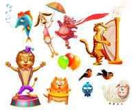 Illustration of the different kinds  animals. Some cartoon animals ( zebra, hippopotamus, lion,fish, dog, tiger, sheep, poultry Stock Photo