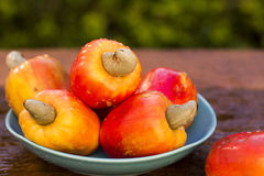 Some cashew fruit over a wooden surface. Fresh fruit Stock Photos