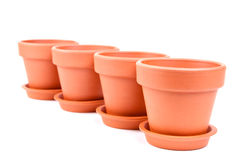 Some ceramic pots. For houseplant on white background stock image