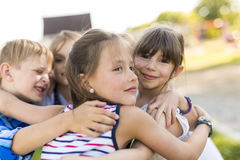 Cheerful school age child play on playground school Royalty Free Stock Photography