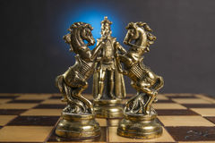 Some Chess Metallic Pieces. On Their Board Stock Images
