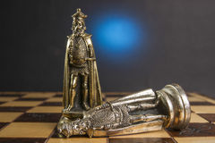 Some Chess Metallic Pieces. On Their Board Stock Image