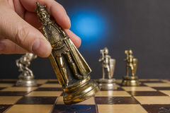 Some Chess Metallic Pieces Stock Photography