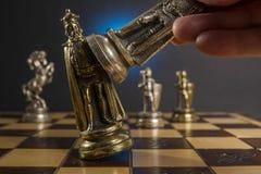 Some Chess Metallic Pieces Stock Image
