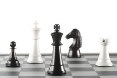 Some Chess Pieces. On the Chessboard Royalty Free Stock Photos