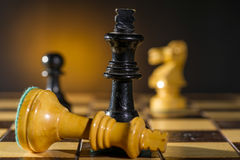 Some Chess Wooden Pieces. On Their Board Royalty Free Stock Photo