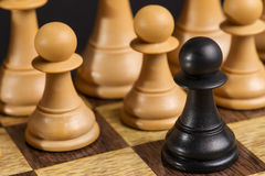 Some Chess Wooden Pieces. On Their Board Stock Images