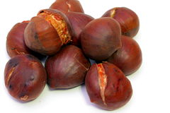 Some chestnuts. Some cooked roasted brown chestnuts Stock Photos