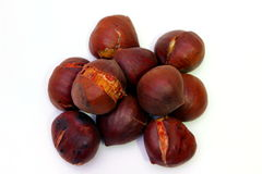 Some chestnuts. Some cooked roasted brown chestnuts Royalty Free Stock Images