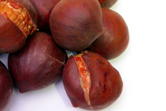 Some chestnuts. Some cooked roasted brown chestnuts Royalty Free Stock Photography