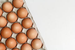 Some chicken eggs. In carton Stock Photo