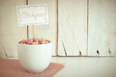 Some chickpea  seeds in a bowl in the herbalist's. Royalty Free Stock Photo